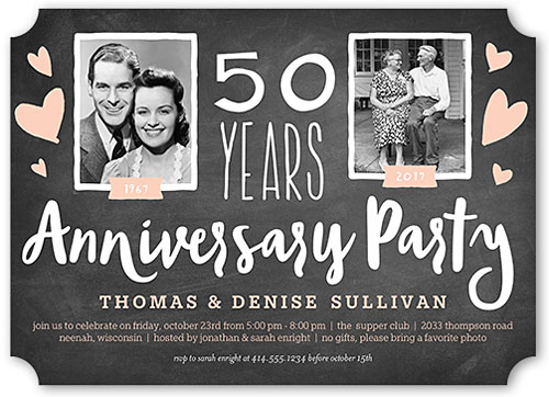 Cheap 50th Wedding Anniversary Invitations: Then And Now Anniversary Party Invitations