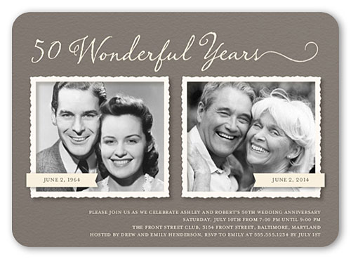 then and now 50th anniversary party invites
