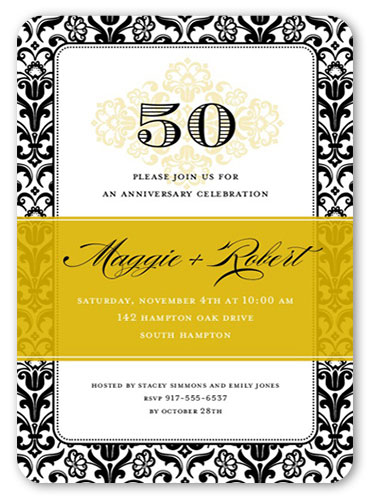 vintage anniversary party invitations no photo