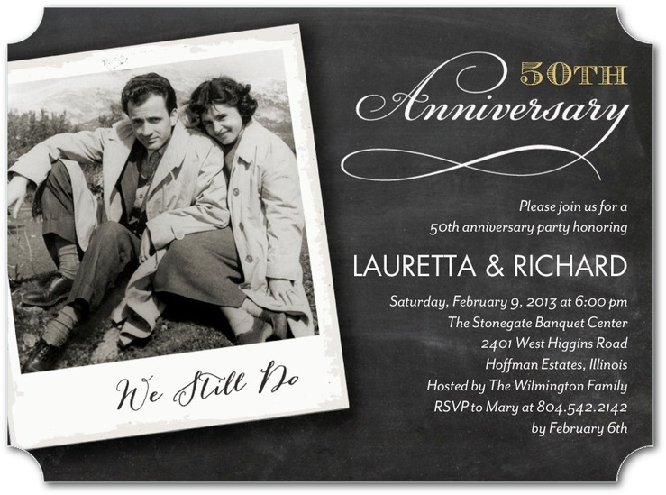 wedding anniversary party invitations one photo