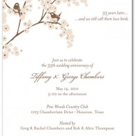 wedding anniversary party invites birds in tree