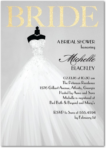 Bridal shower invitations wedding paper divas 20 off coupon for Wedding dress bridal shower invitations