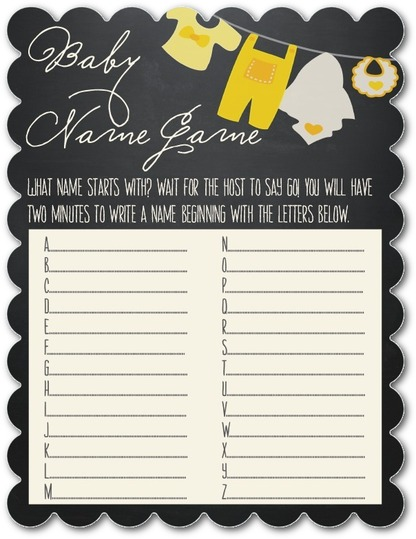 baby shower game idea name game