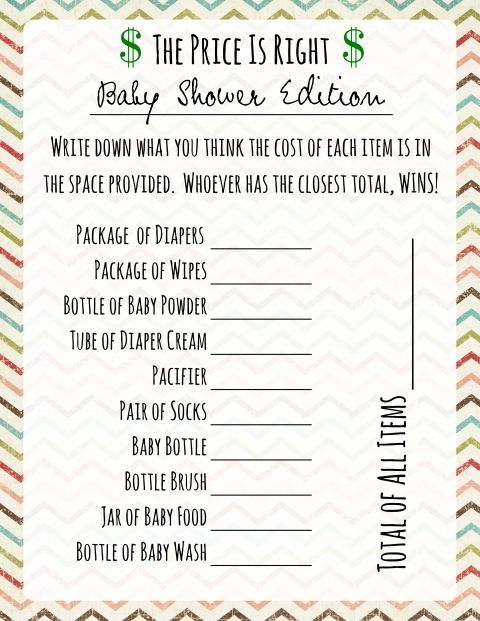 free printable baby shower price is right
