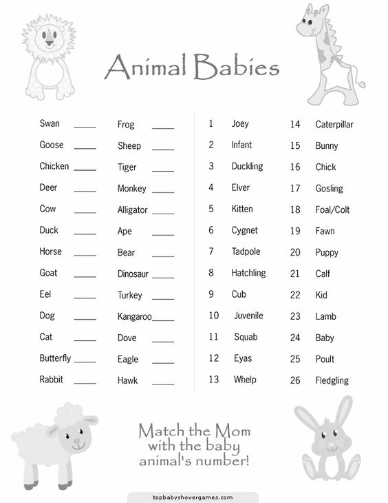 free printable shower game baby animals
