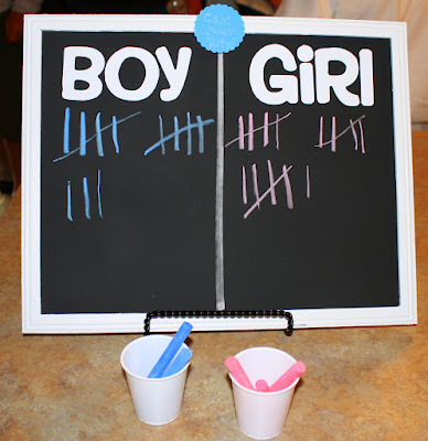 gender reveal chalkboard baby shower invites
