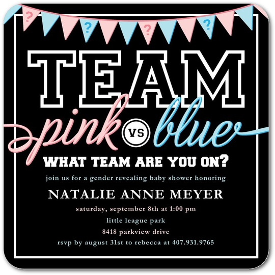 team pink or blue gender reveal baby shower