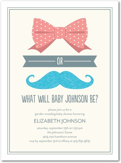 tiny prints gender reveal mustache bow baby shower