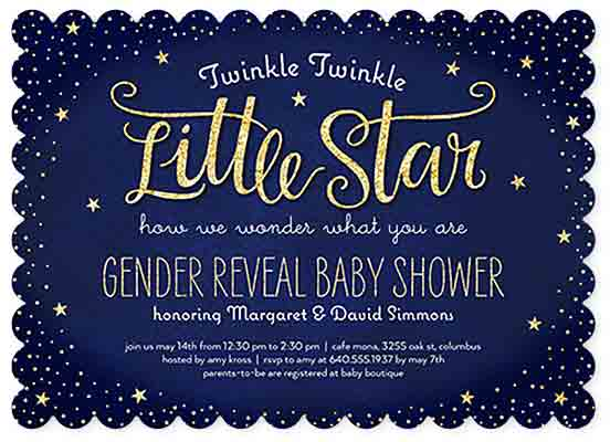 twinkle star baby shower reveal invites shutterfly