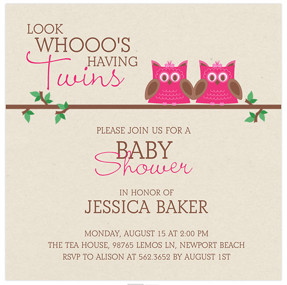 owls twin baby shower invitations mixbook