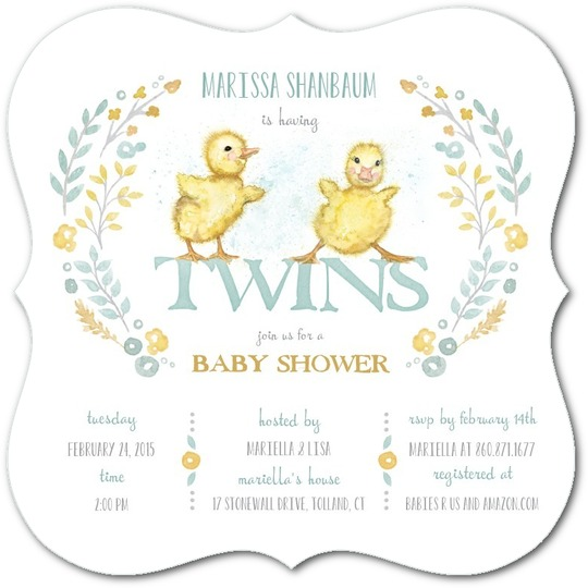 twins baby shower tiny prints