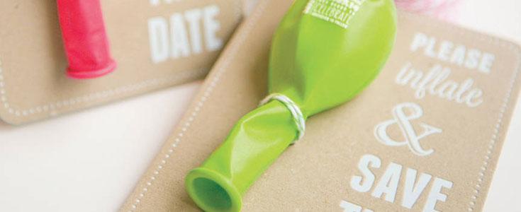 creative save date invites balloons